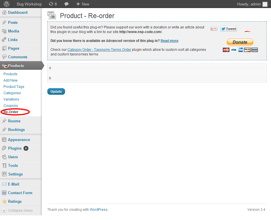 Reorder wp commerce after