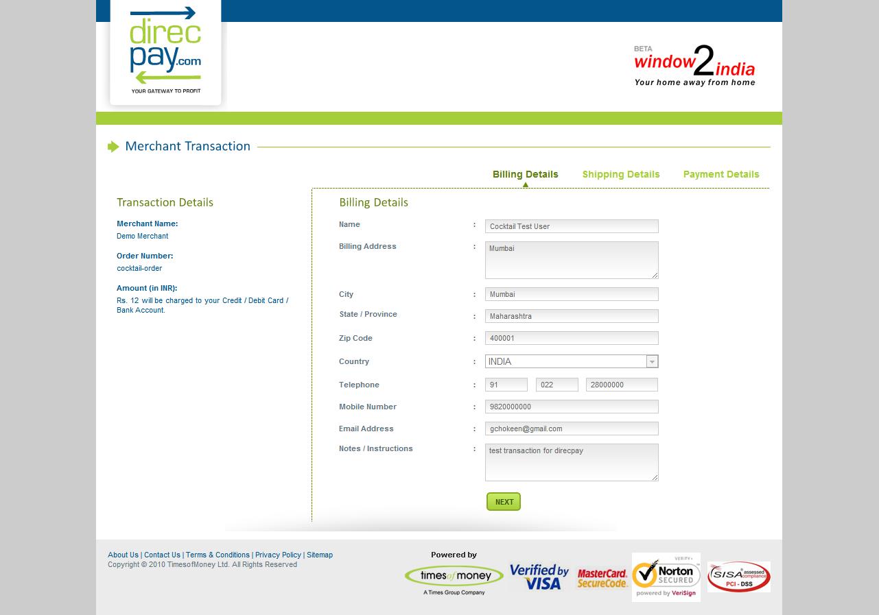 integrate direcpay Billing information